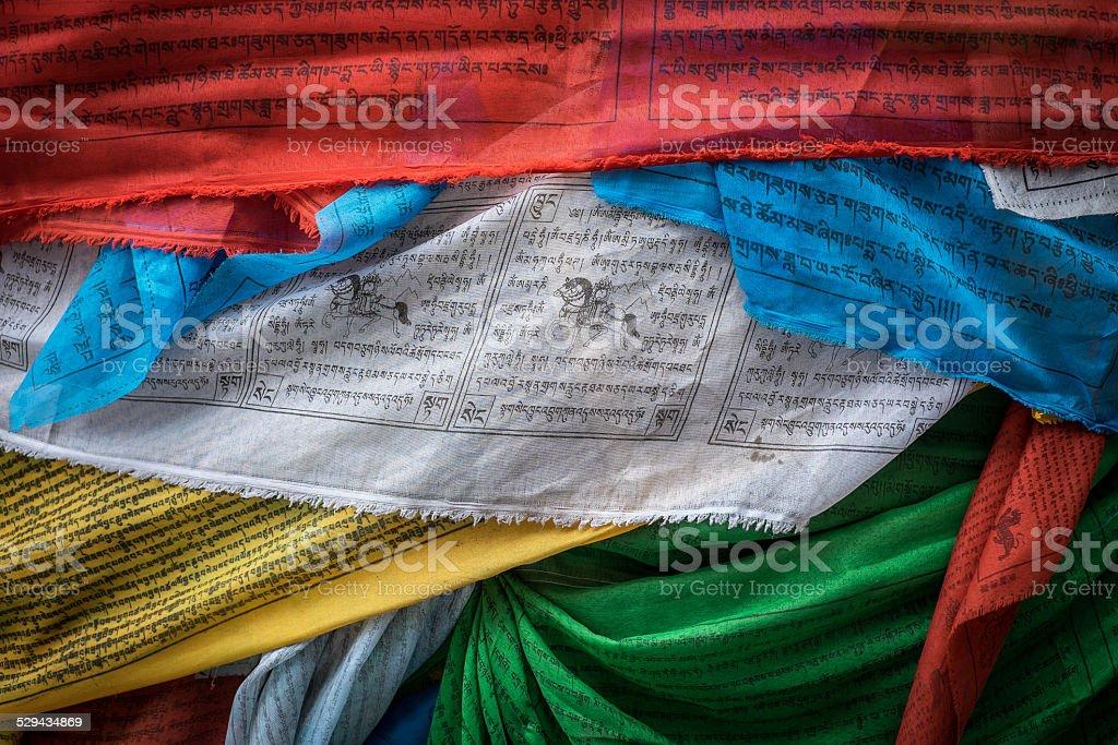 Tibetan praying flags stock photo