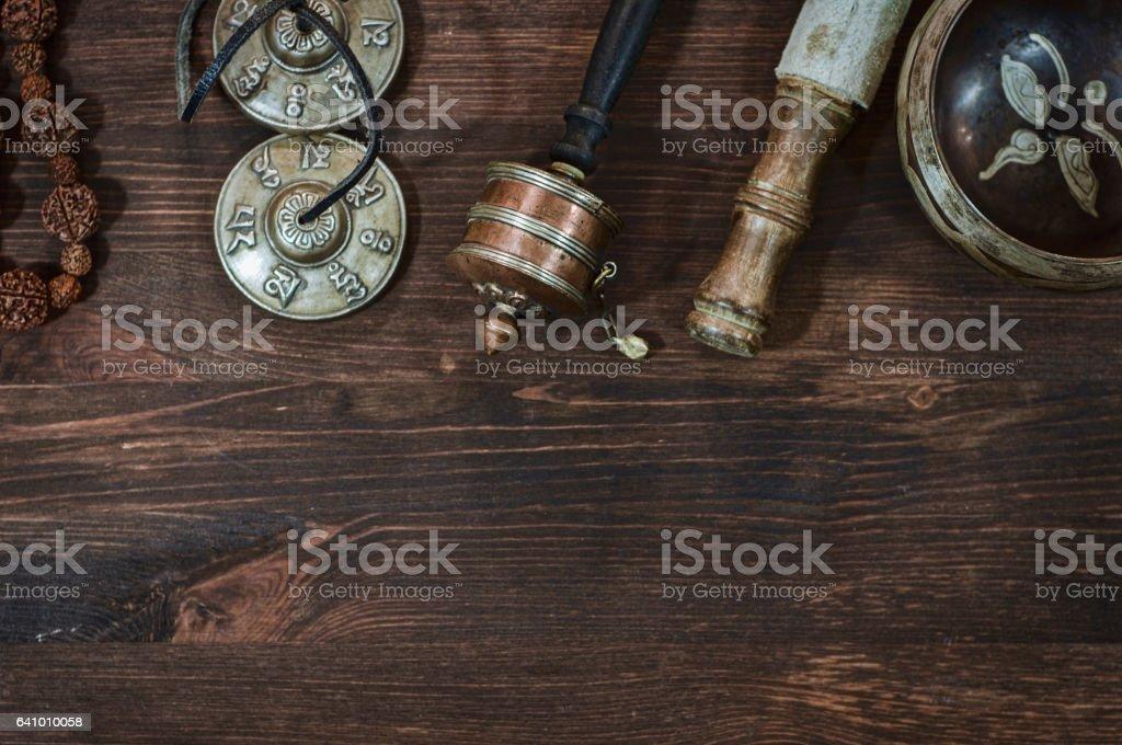 Tibetan religious objects for ritual stock photo