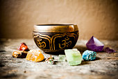 Tibetan Singing Bowl and Gemstones