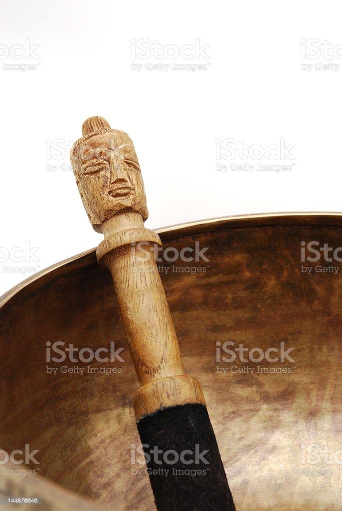 Tibetan Singing Bowl and mallet royalty-free stock photo