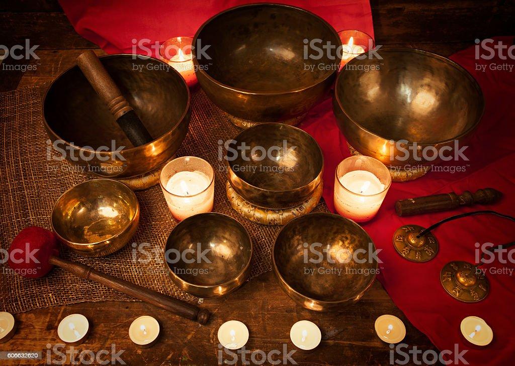 Tibetan singing bowls stock photo