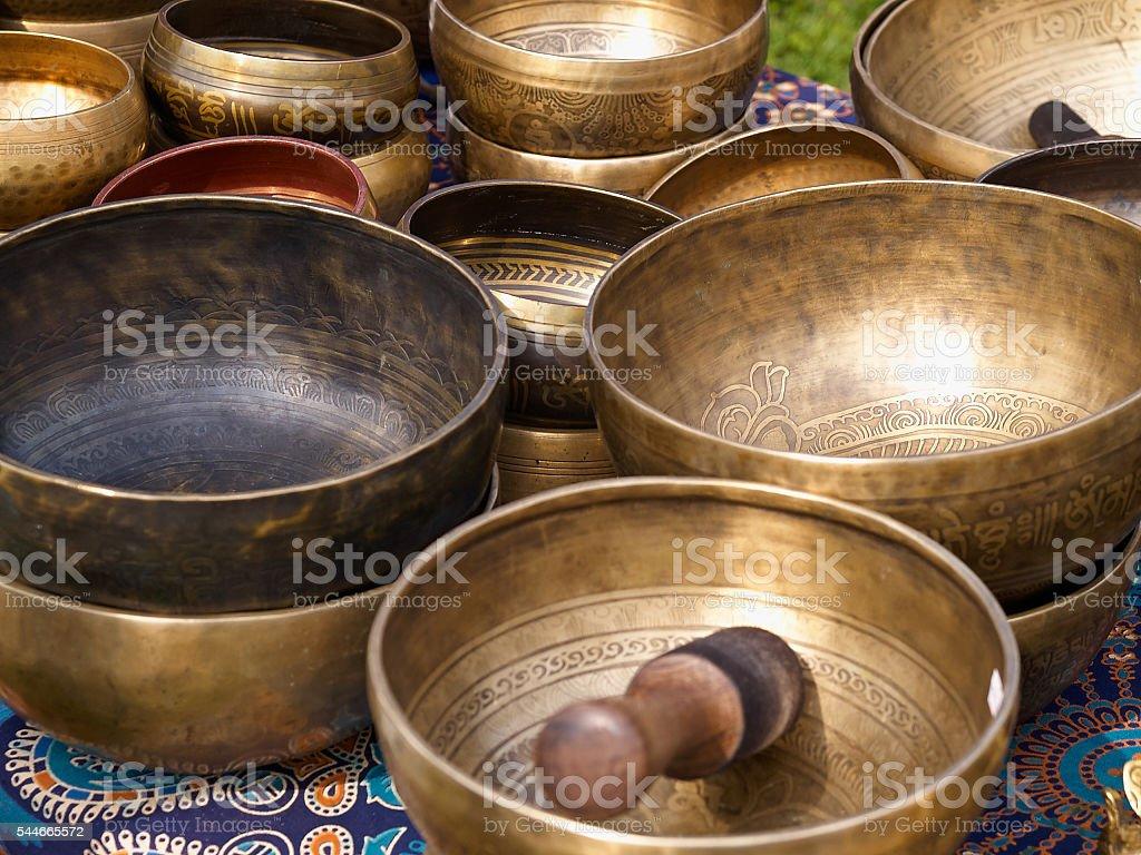 Tibetan singing bowls with batons stock photo