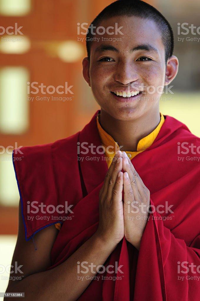 A Tibetan student monk in Jonangpa School in Kathmandu,Nepal stock photo