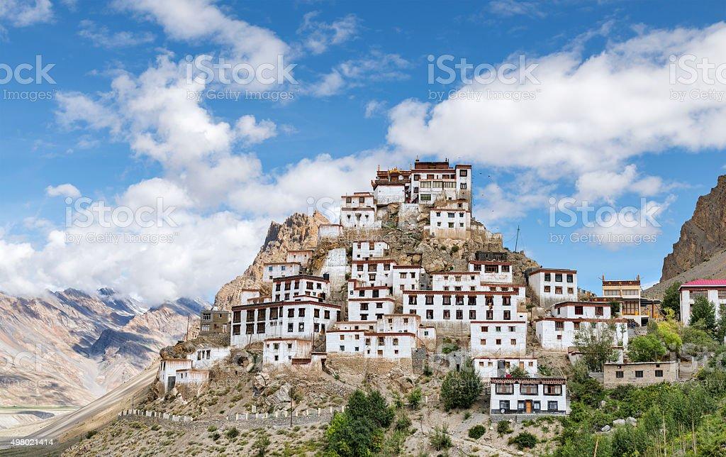 Tibetan style Key monastery on top of hill among mountains stock photo