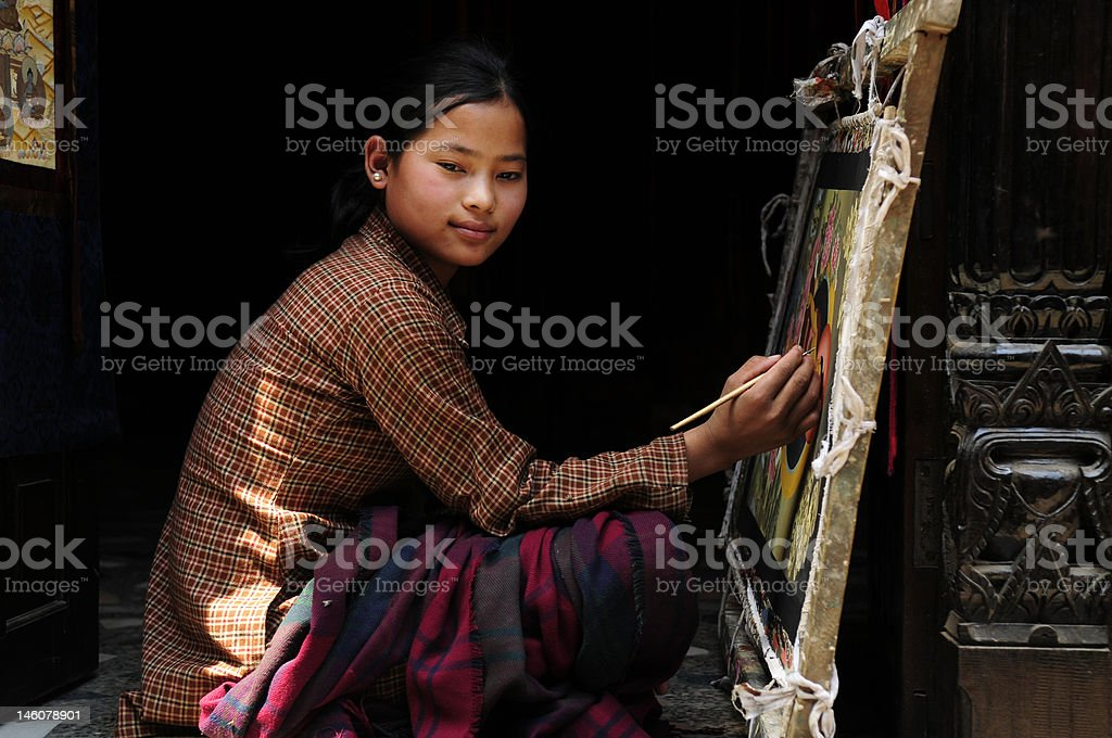 Tibetan Tangka painter stock photo