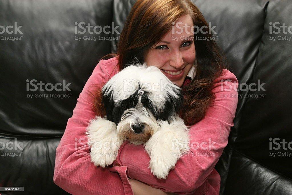 Tibetan Terrier and beautiful young girl stock photo