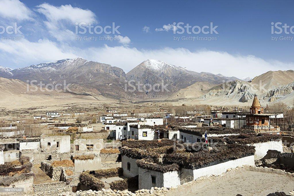 Tibetan village in Himalayan mountains. Mustang, Nepal. stock photo
