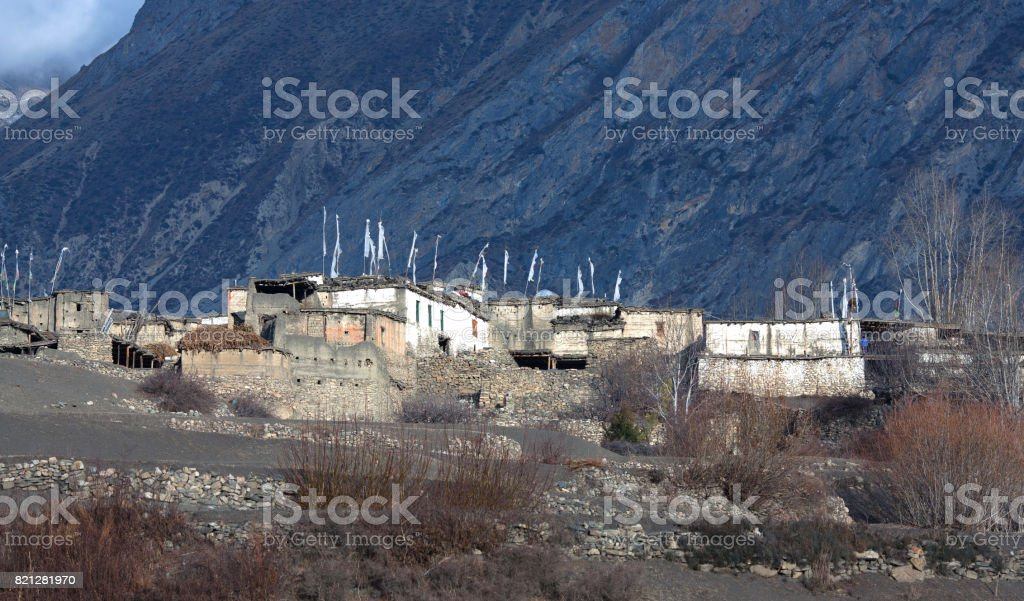 Tibetan village in Muktinath valley on Annapurna Circuit Trek, Nepal stock photo