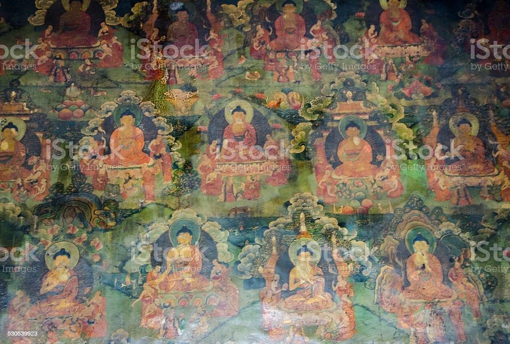 Tibetan Wall Fresco stock photo