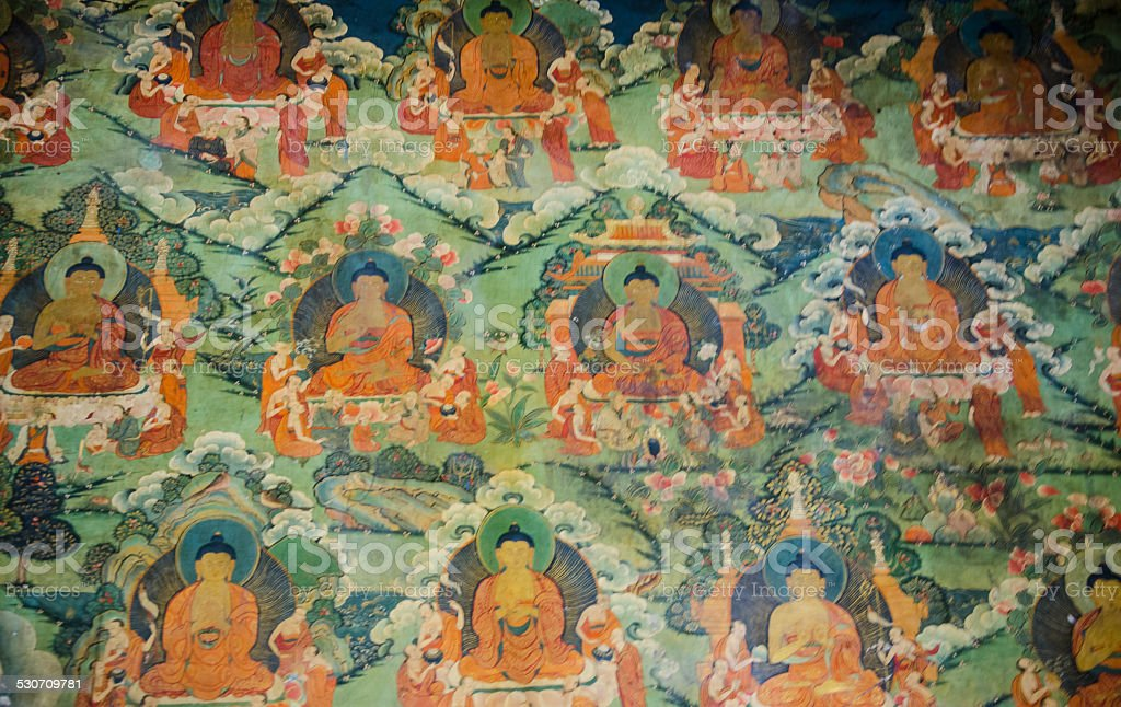 Tibetan Wall Fresco stock photo