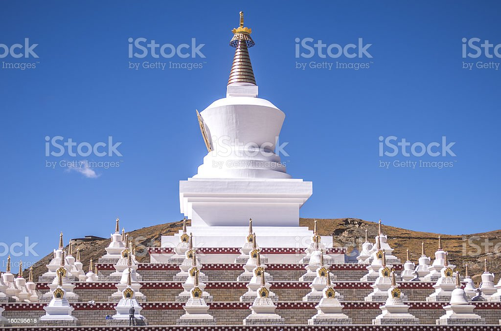Tibetan white Pagoda with blue sky royalty-free stock photo