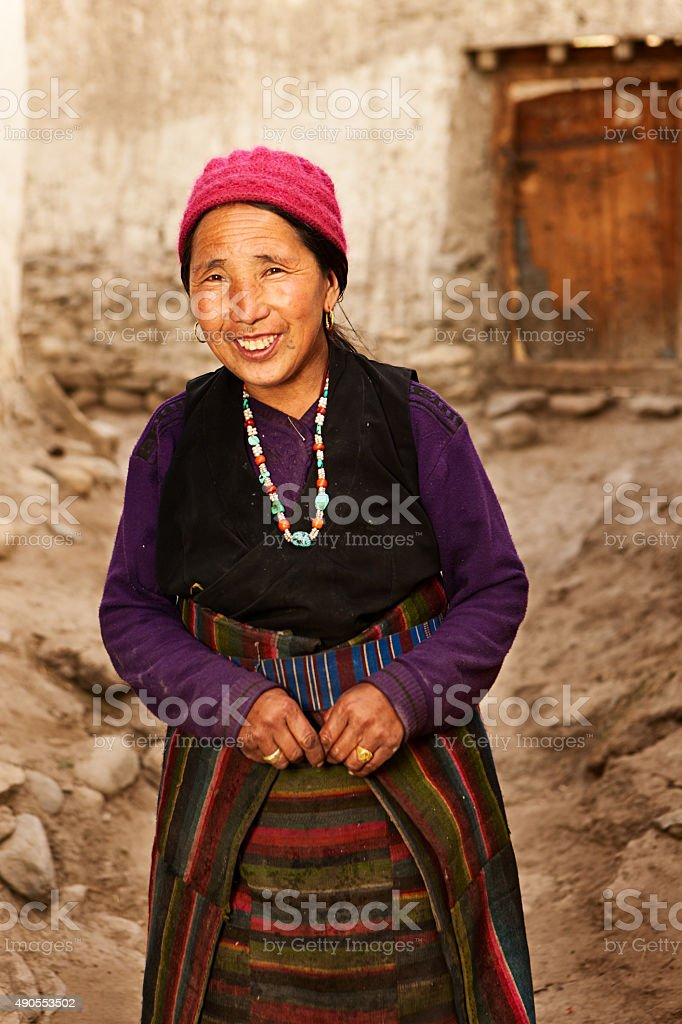 Tibetan woman from Lo Manthang in Mustang, Nepal stock photo