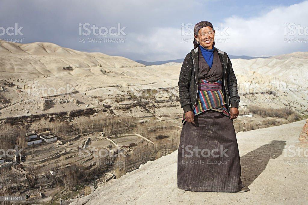 Tibetan woman in Lo Manthang royalty-free stock photo
