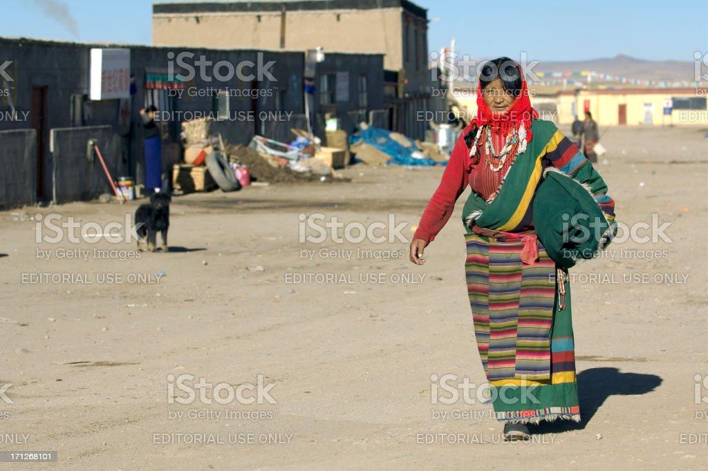 Tibetan Woman in Tsang stock photo