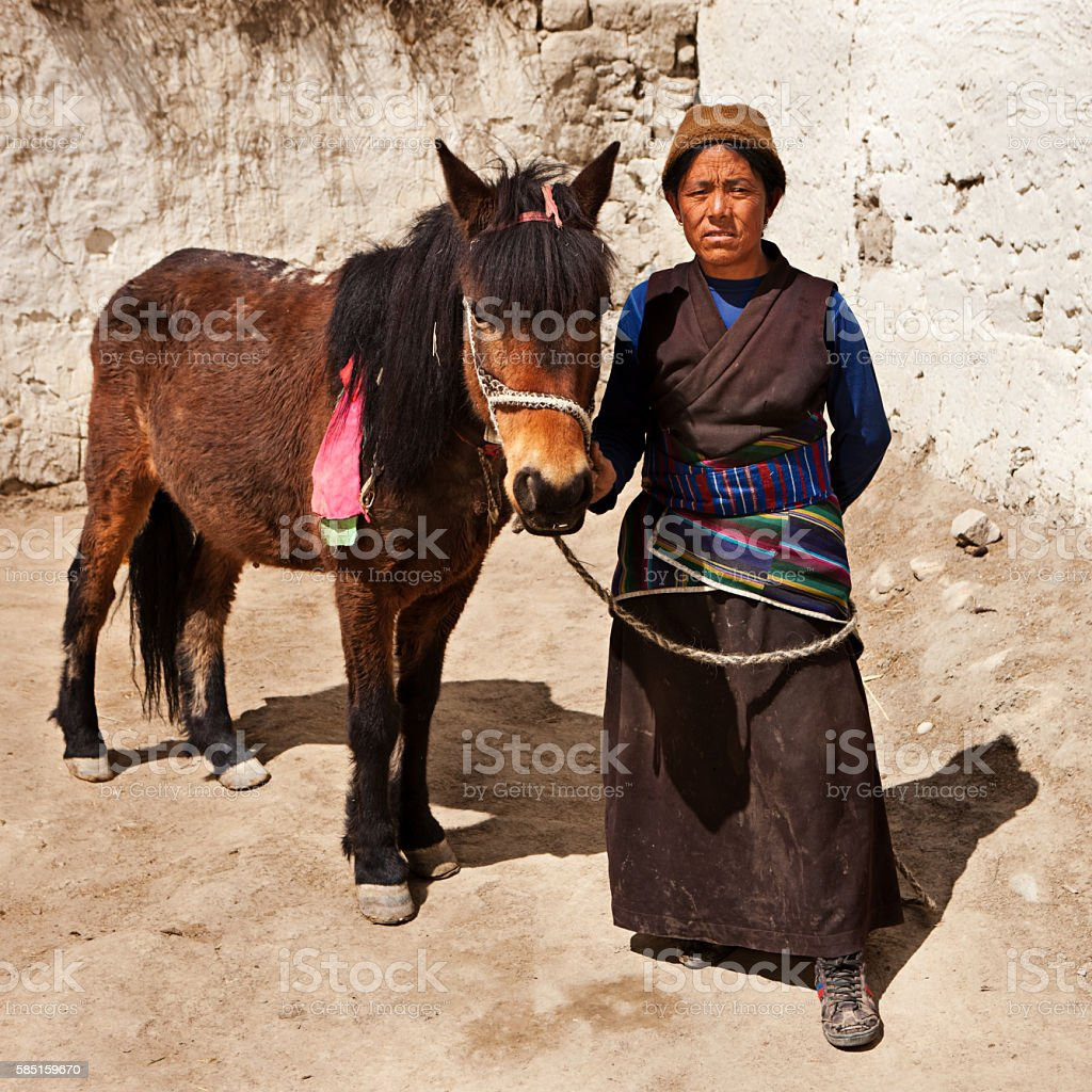 Tibetan woman leads her horse, Upper Mustang, Nepal stock photo