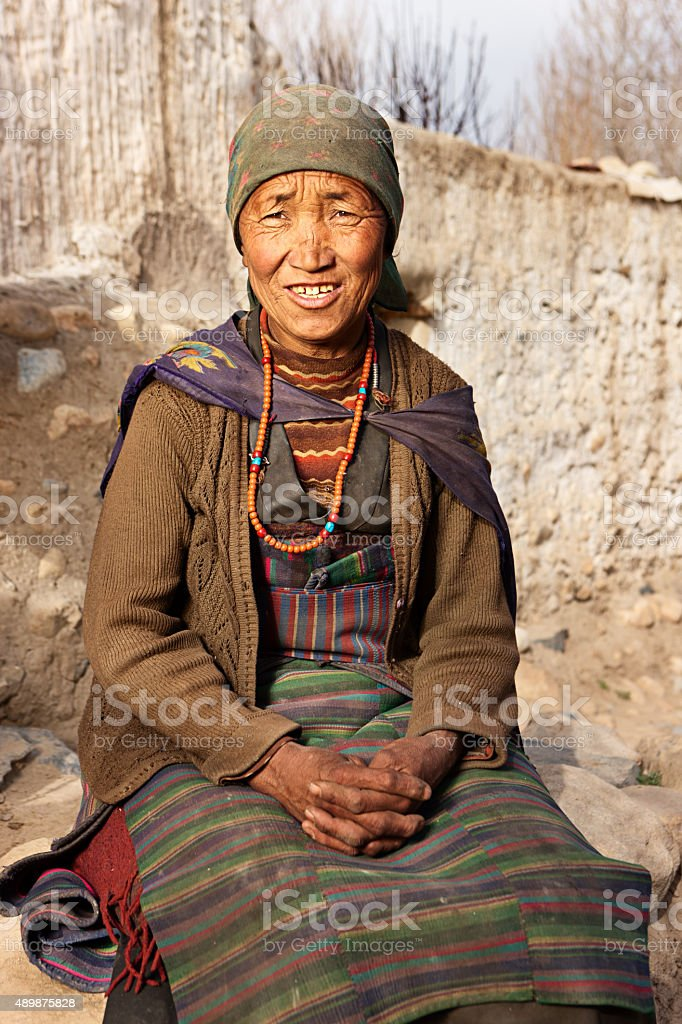 Tibetan woman, Lo Manthang, Upper Mustang stock photo