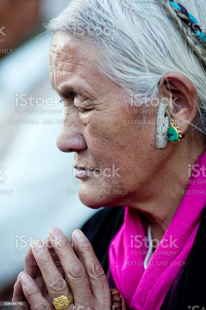 Tibetan woman, Nepal stock photo