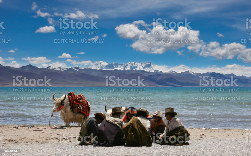 Tibetan Yak Herders at Namtso Lake stock photo