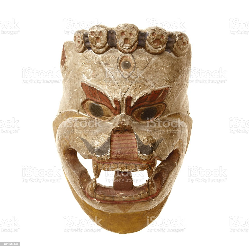 Tibetian mask isolated on white background royalty-free stock photo