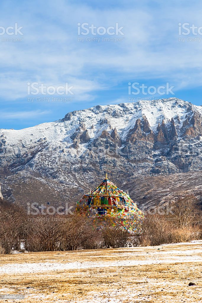 tibetian pagoda in forest stock photo