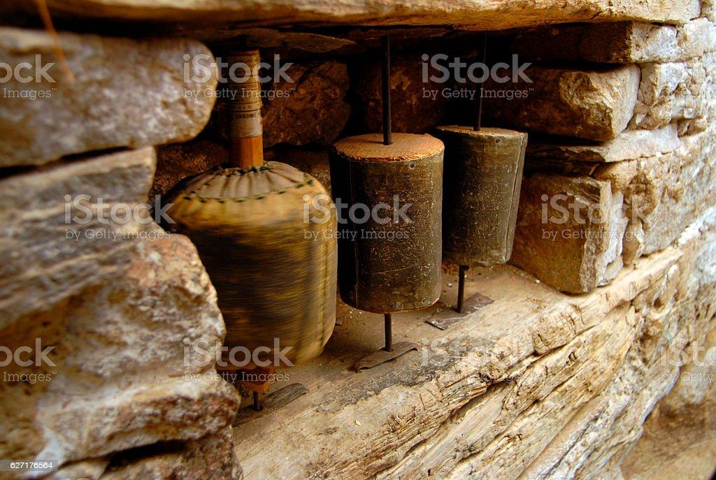 Tibetian prayer wheels in monestry , spiti valley, himachal pradesh, india stock photo