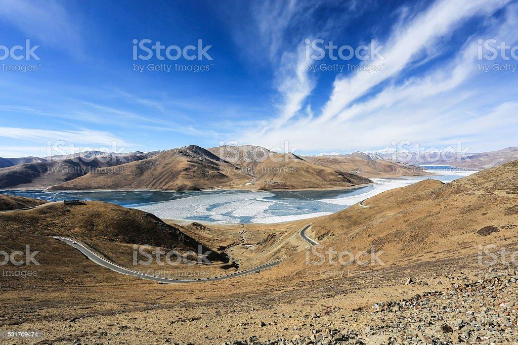 Tibet's snow-capped mountains, glacial lakes stock photo
