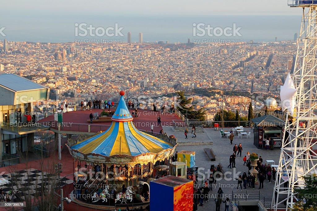 Tibidabo amusement park, Barcelona stock photo