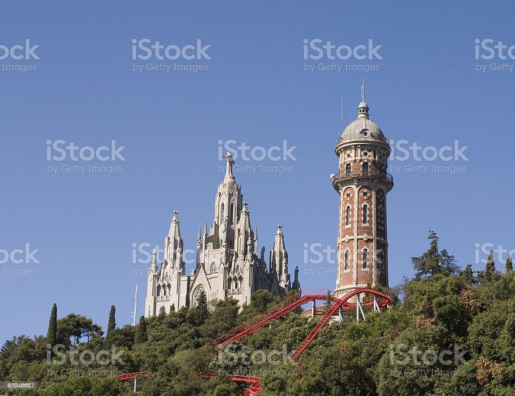Tibidabo amusement park in Barcelona. Leisure background stock photo