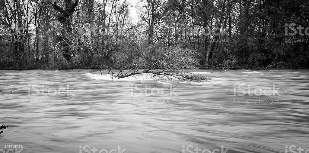 Ticino river during a winter flood. BW image stock photo