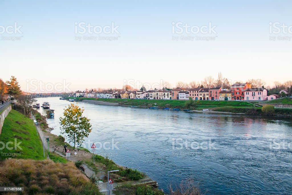 Ticino River with houses in Pavia stock photo