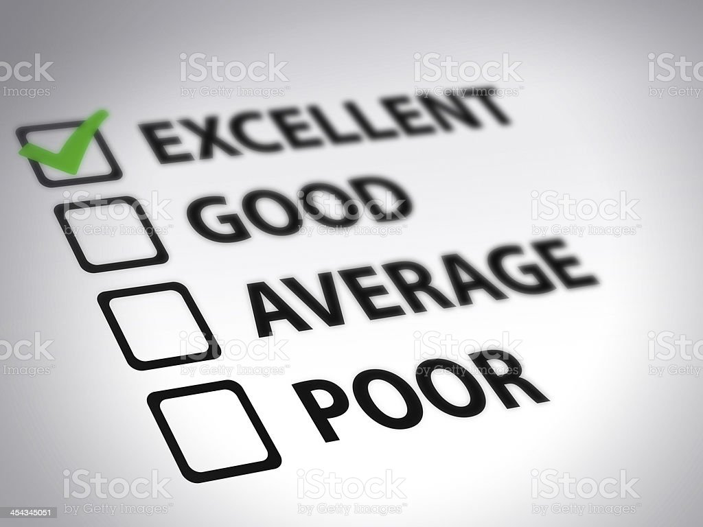 Tick box evaluation form with excellent ticked in green stock photo