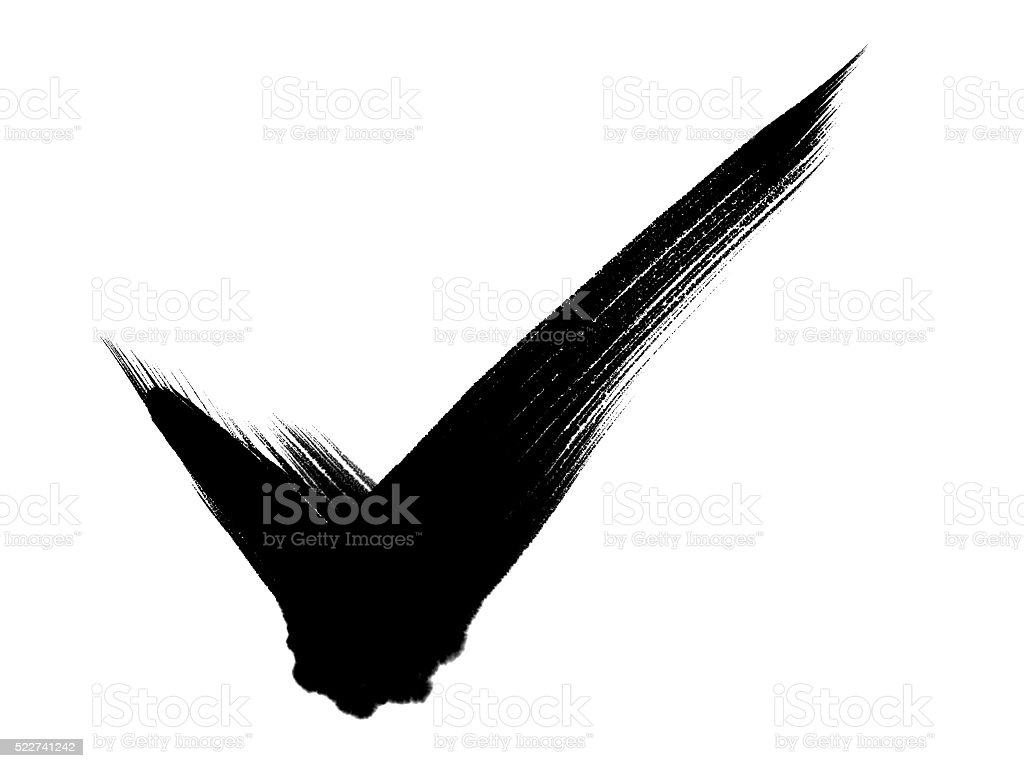 Tick -Brush strokes - Traditional Chinese Calligraphy stock photo