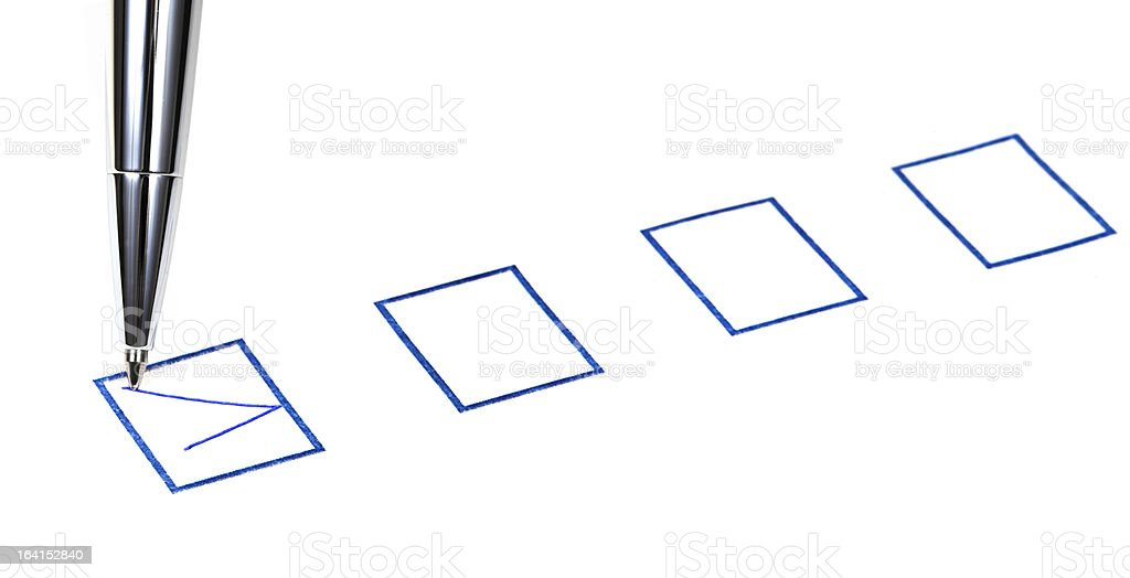 tick in blue square box royalty-free stock photo