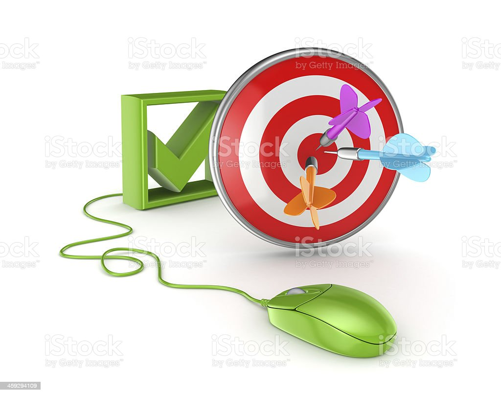 Tick mark, green mouse and dartboard. stock photo