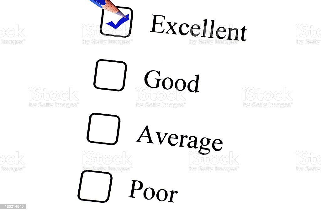 Tick placed in Excellent check box on customer service questionnaire stock photo