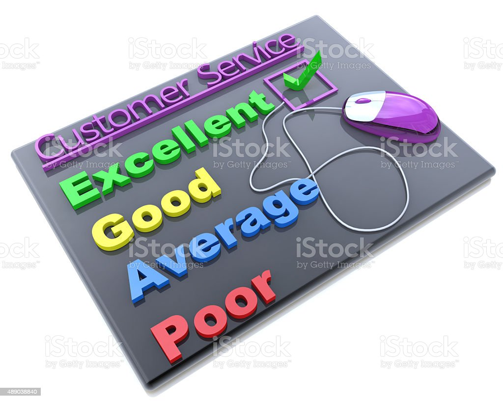 Tick placed in excellent checkbox on customer service satisfacti stock photo