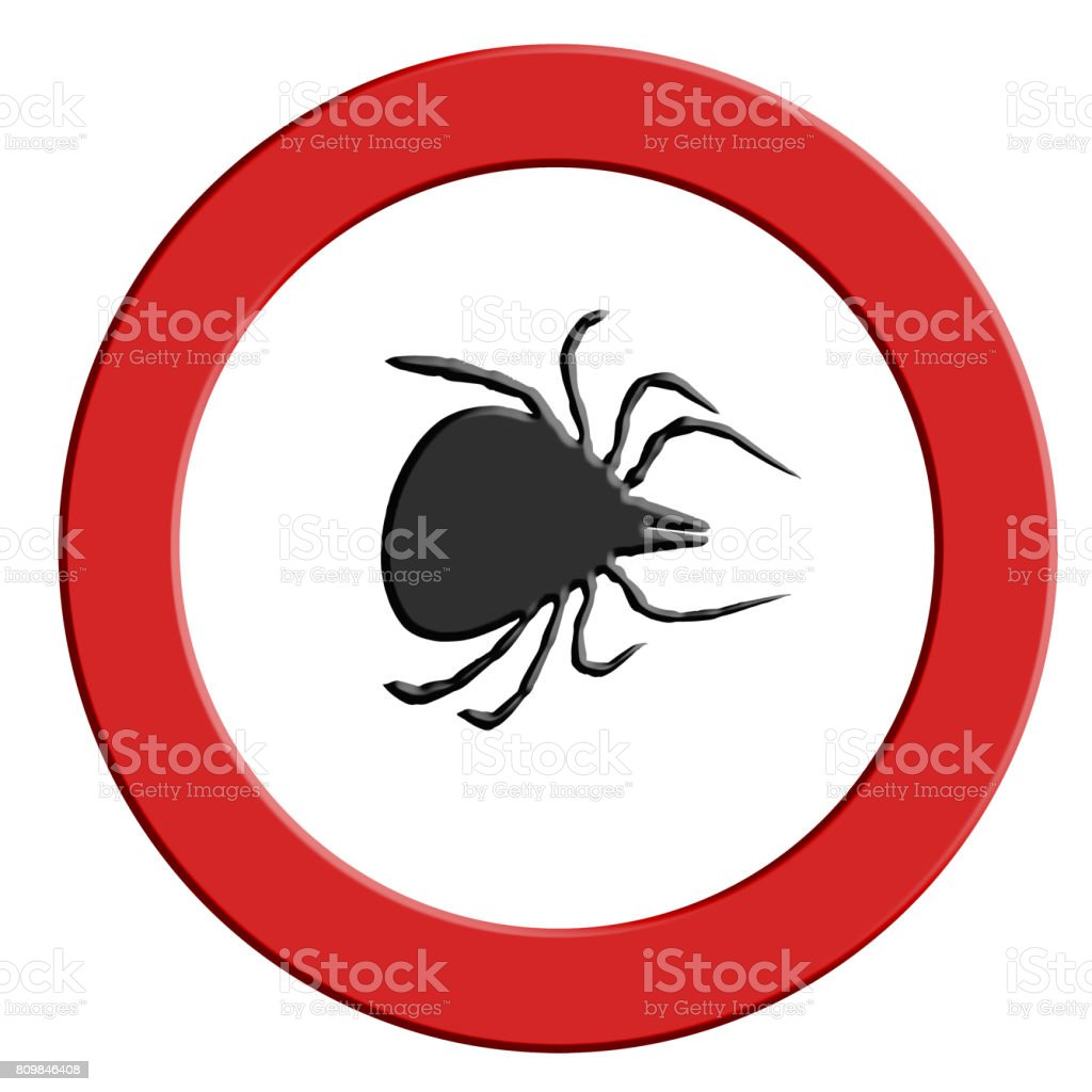 Tick warning red warning sign with tick symbol. stock photo