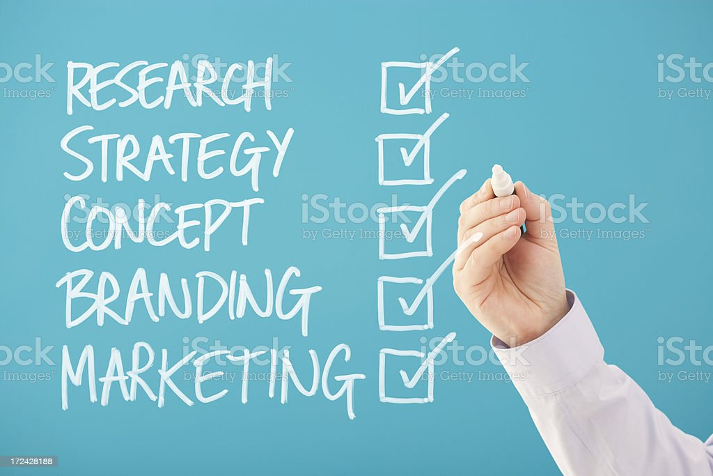 Ticked boxes Research Strategy Concept Branding Marketing stock photo