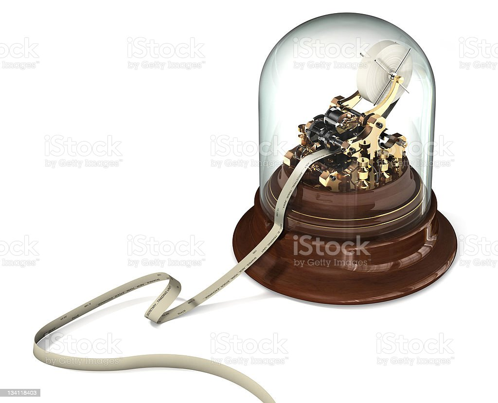 Ticker Tape Machine on White stock photo