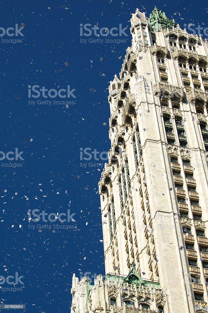 Ticker Tape Parade Confetti Blue Sky City Building stock photo