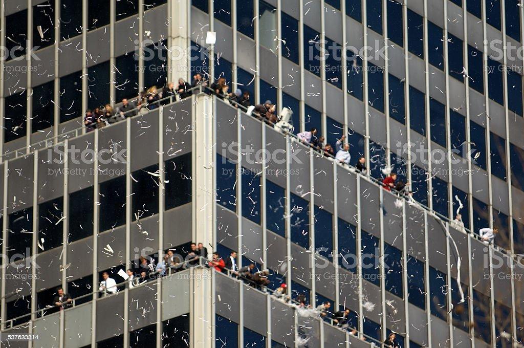 Ticker Tape Parade Confetti City Building stock photo