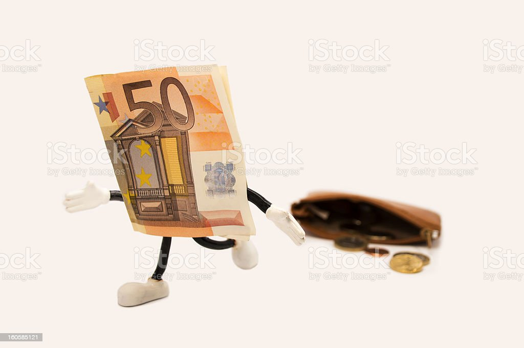 ticket 50  euro  escaping from a purse royalty-free stock photo