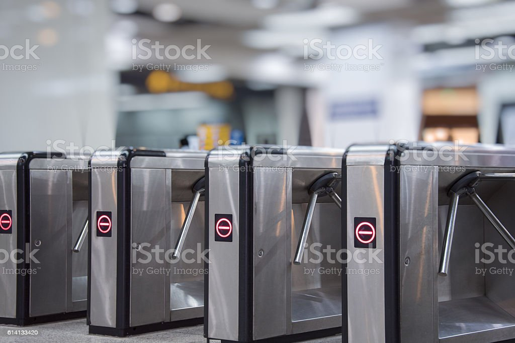 Ticket barriers at subway entrance stock photo