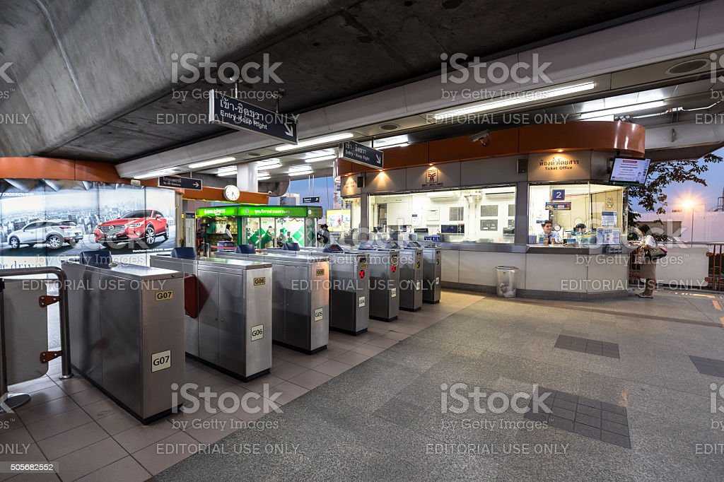 Ticket barriers machine of the BTS skytrain with nobody using stock photo