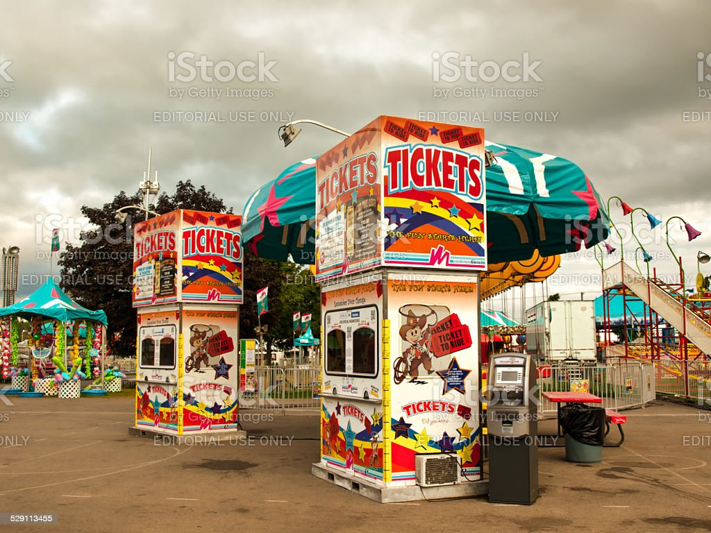 ticket booths at a fair stock photo