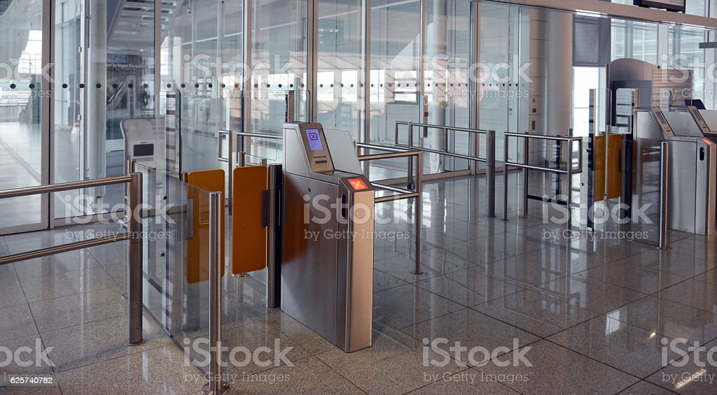 ticket checkpoint at the airport stock photo