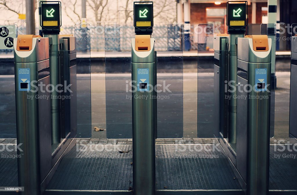 Ticket control - Gate at the station entrance stock photo