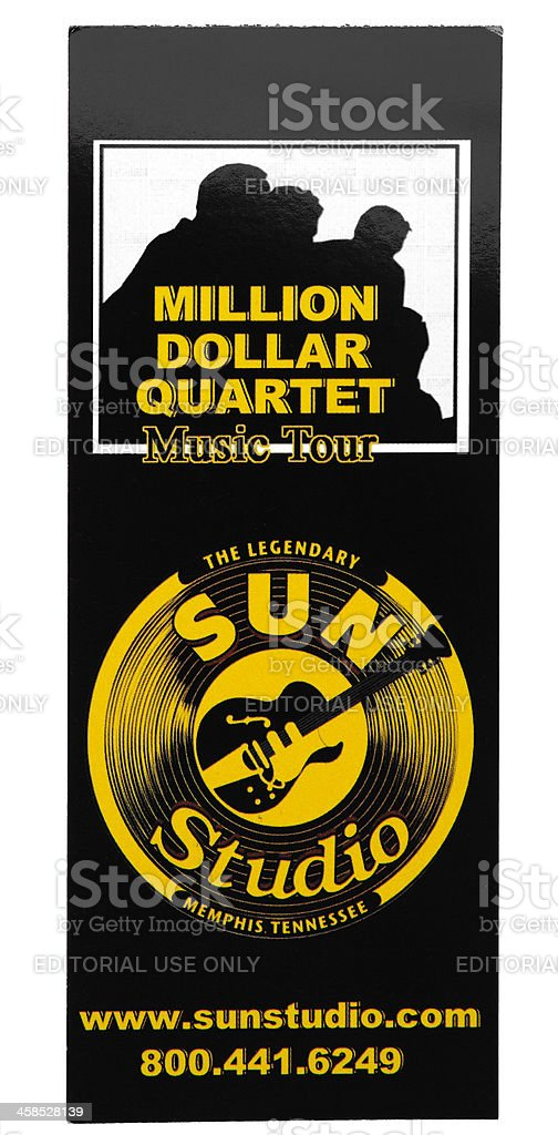 Ticket for entry to the Sun Studio, Memphis, Tn, USA royalty-free stock photo
