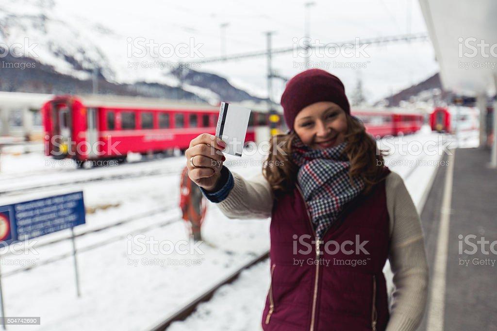 Ticket for happy travel stock photo