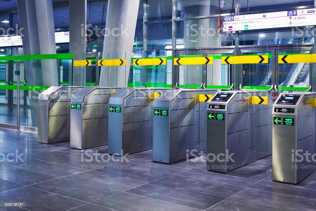 Ticket Gate at subway platform, Warsaw stock photo